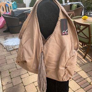 NWT Sondra Roberts  Taupe Leather Fringe Bag